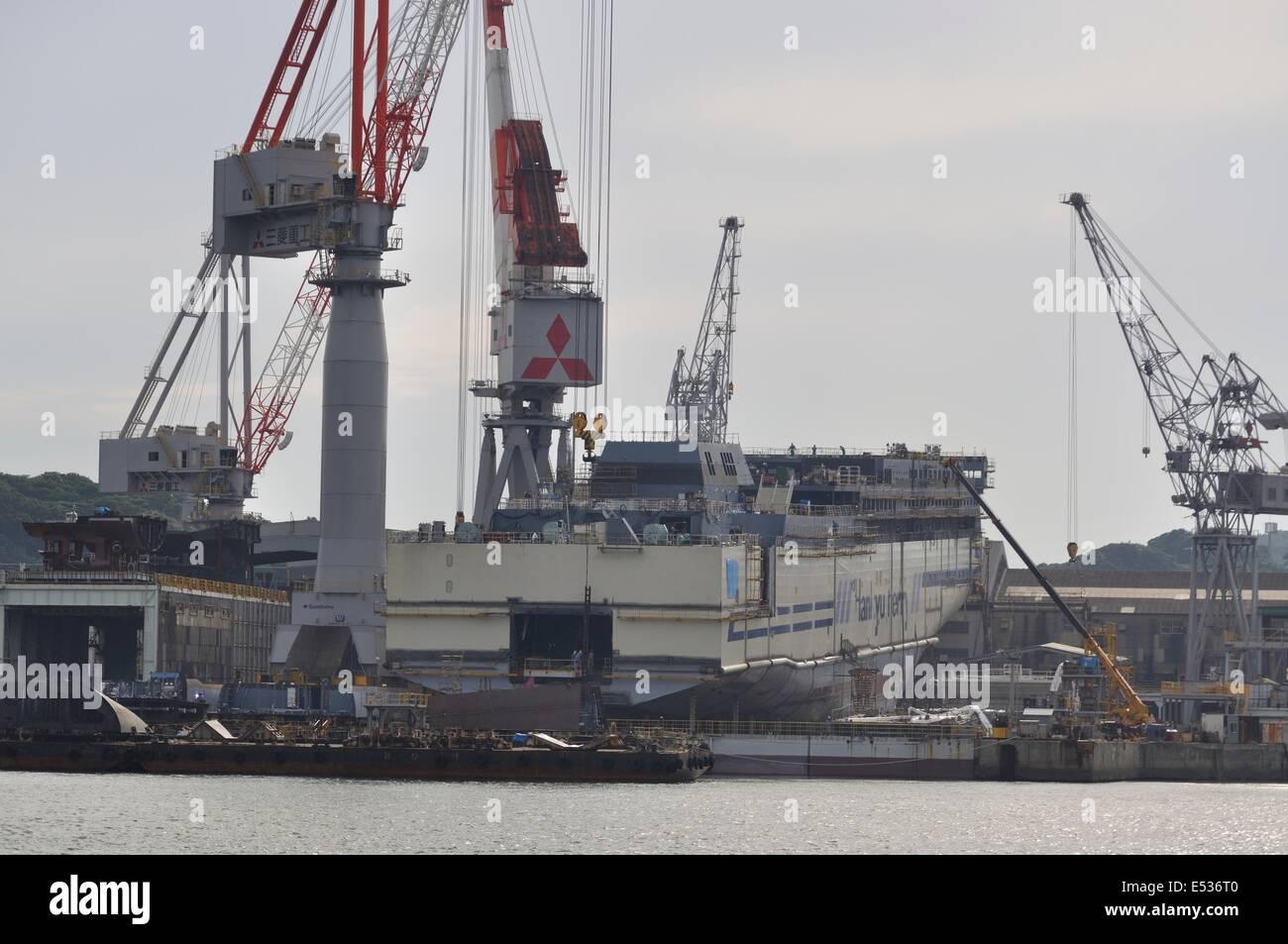 Shipyard of Mitsubishi Heavy Industries,Shimonoseki,Yamaguchi,Japan. - Stock Image