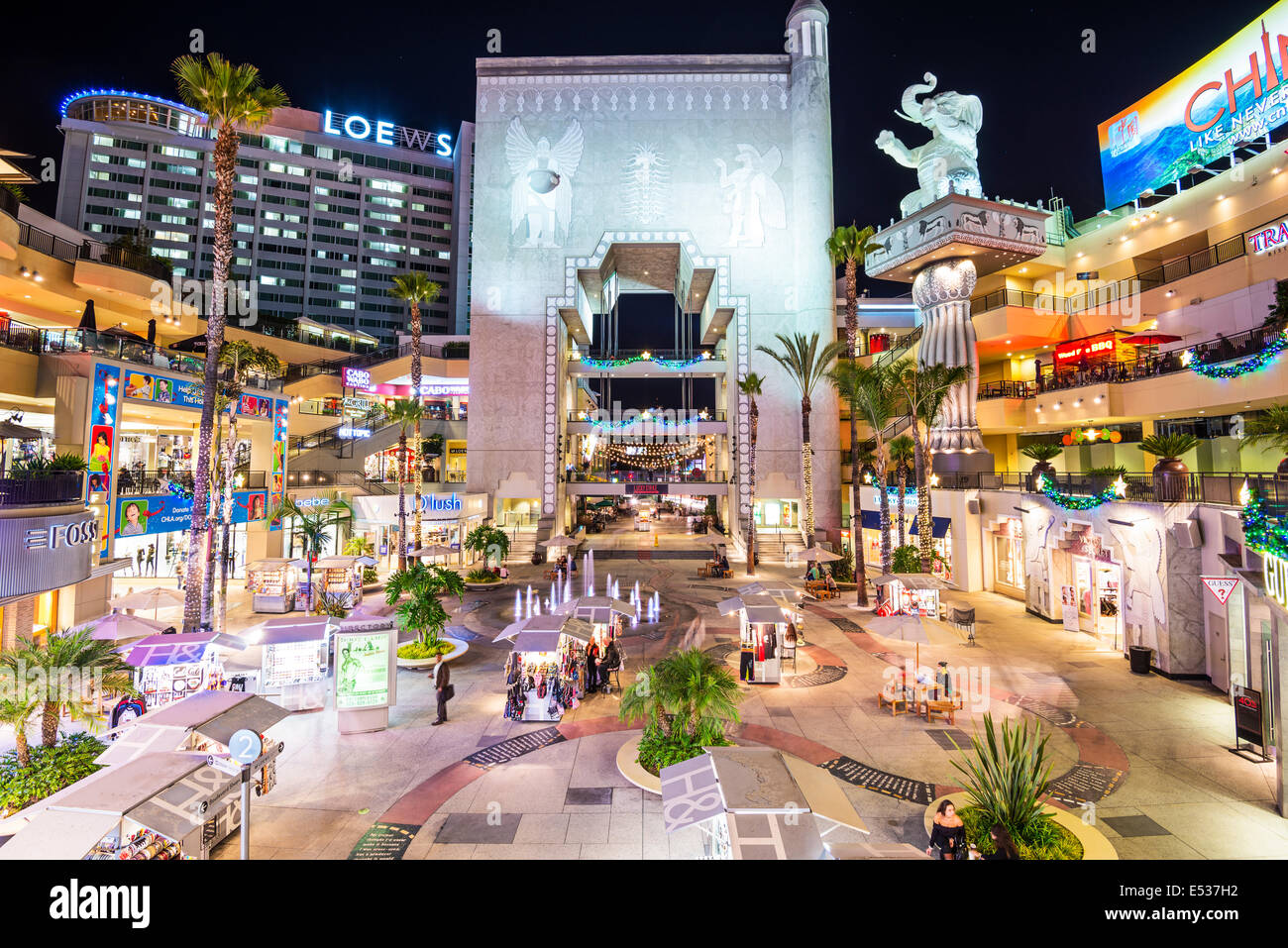 Hollywood and Highland complex at night in Hollywood, California. - Stock Image