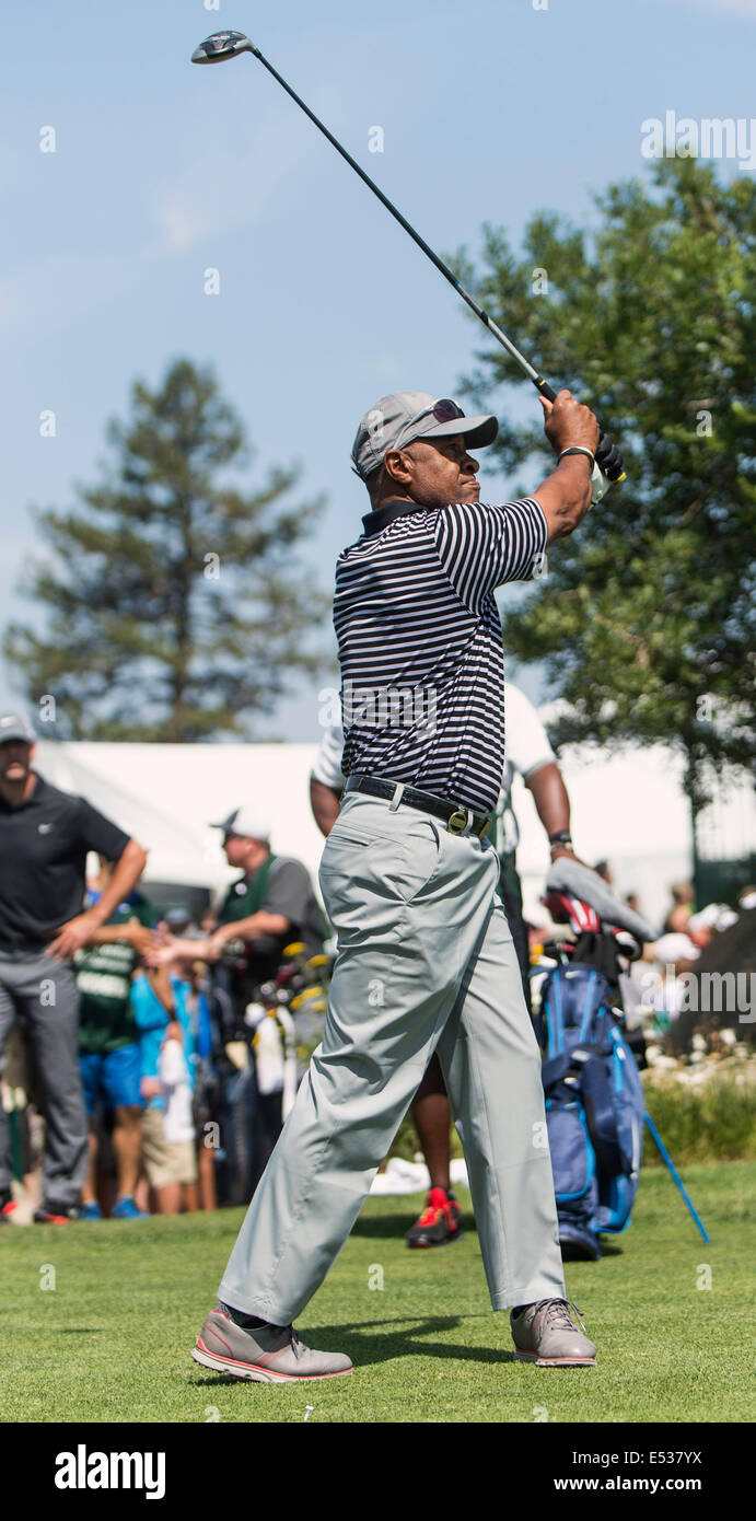 Stateline, Nevada, USA. 18th July, 2014. MLB Hall of Fame Shortstop OZZIE SMITH plays at Edgewood Tahoe on the first - Stock Image