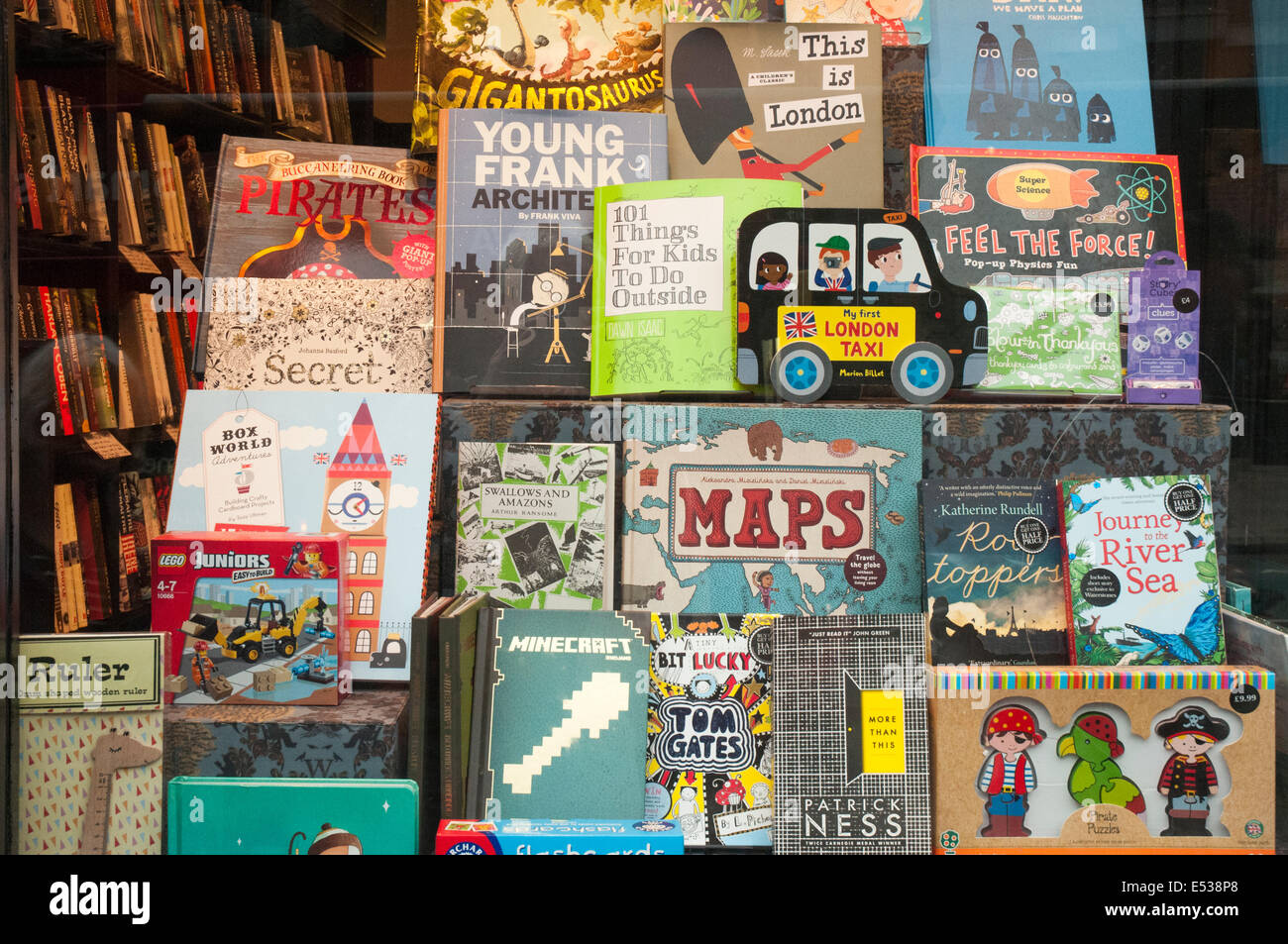 Second-hand childrens books display in a bookstore in Hampstead High Street, London NW3 - Stock Image