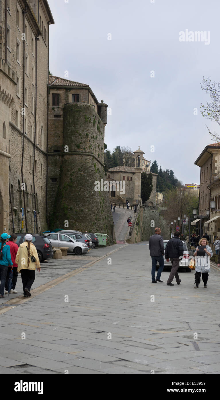 SanMarino,Italy-April 05,2014:Tourists visiting the attractions of the country - Stock Image