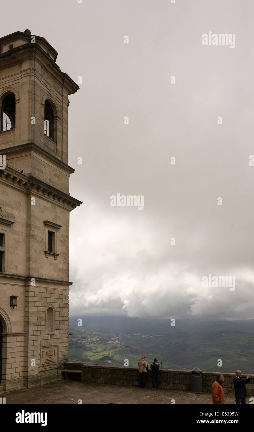 SanMarino,Italy-April 05,2014:  Tourists visiting the attractions of the country - Stock Image