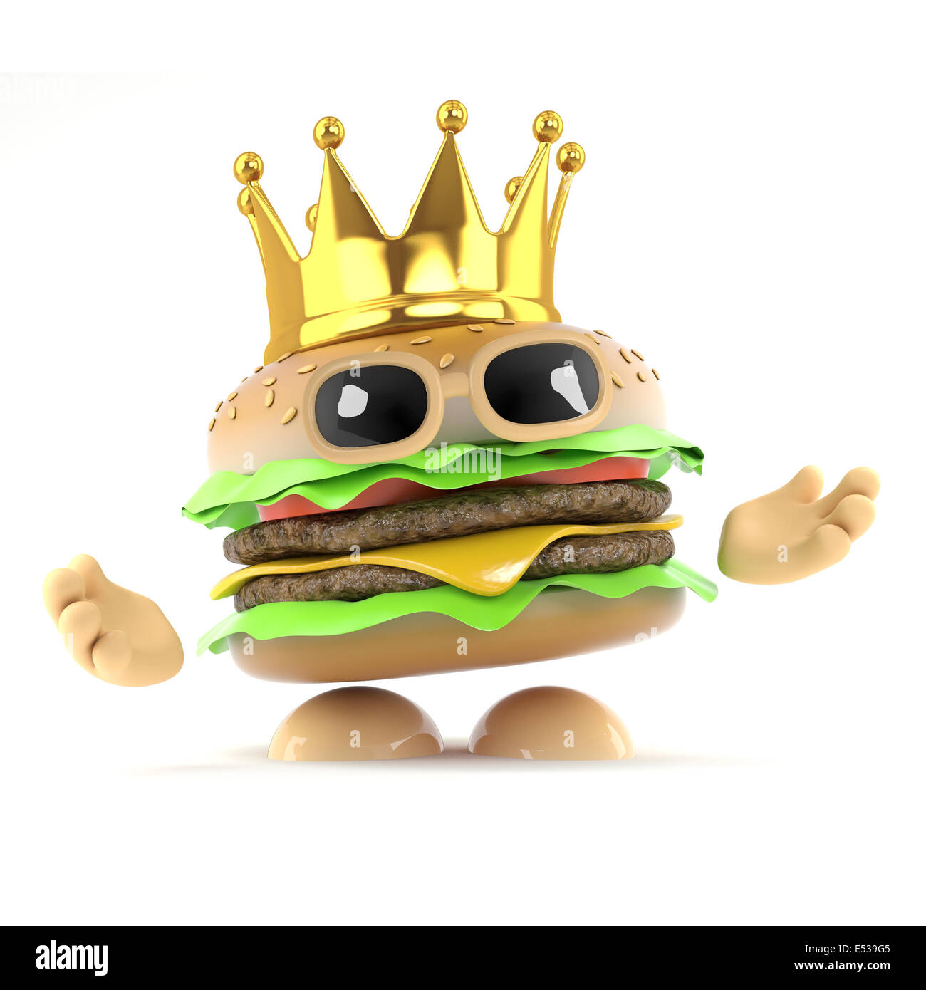 3d Render Of A Beefburger Wearing Gold Crown