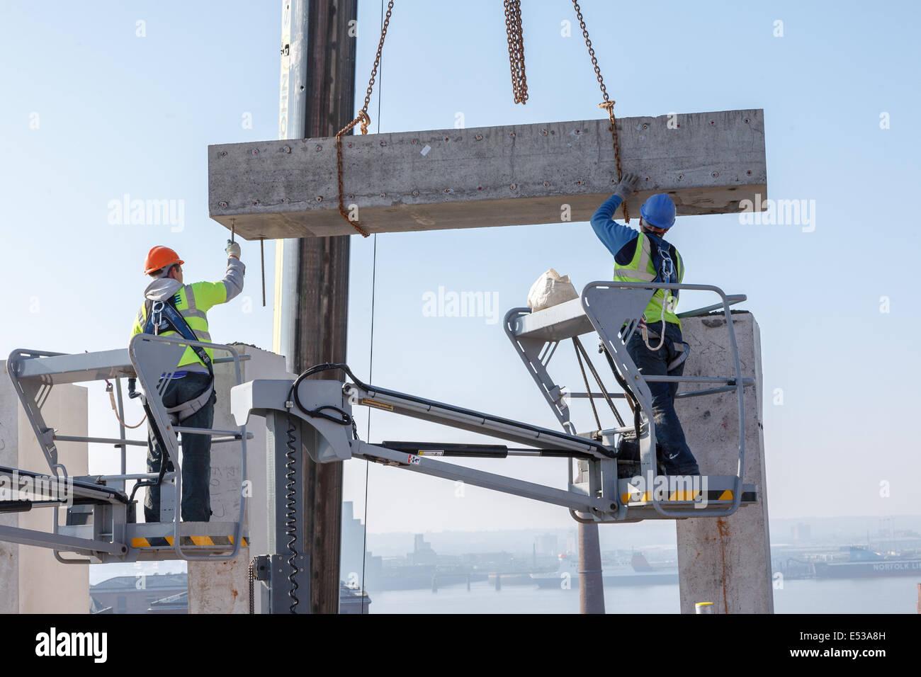 Installation of Precast Concrete Lintel,Liverpool,England,UK,Europe - Stock Image