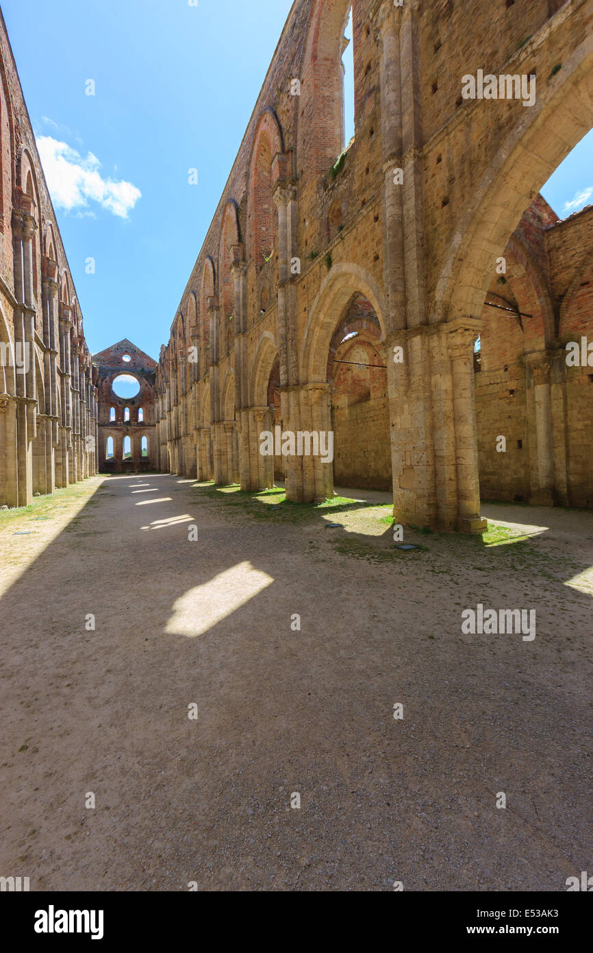 The monumental complex of Saint Galgano rises approximately 30 km to the West of Siena, to the border with the province - Stock Image