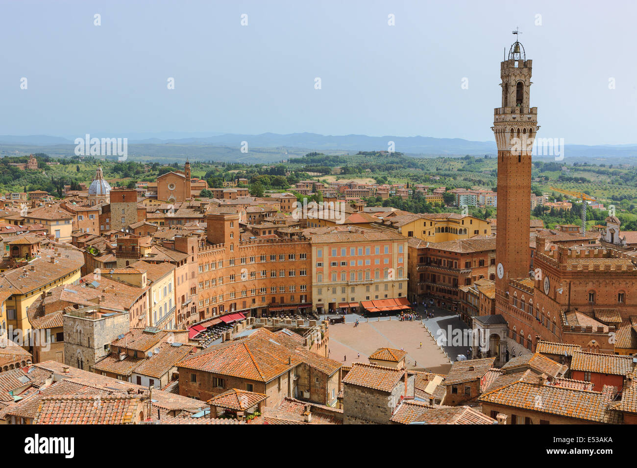 From the top of Il Museo dell'Opera del Duomo. The finest observation point of Siena. A breathtaking panorama - Stock Image