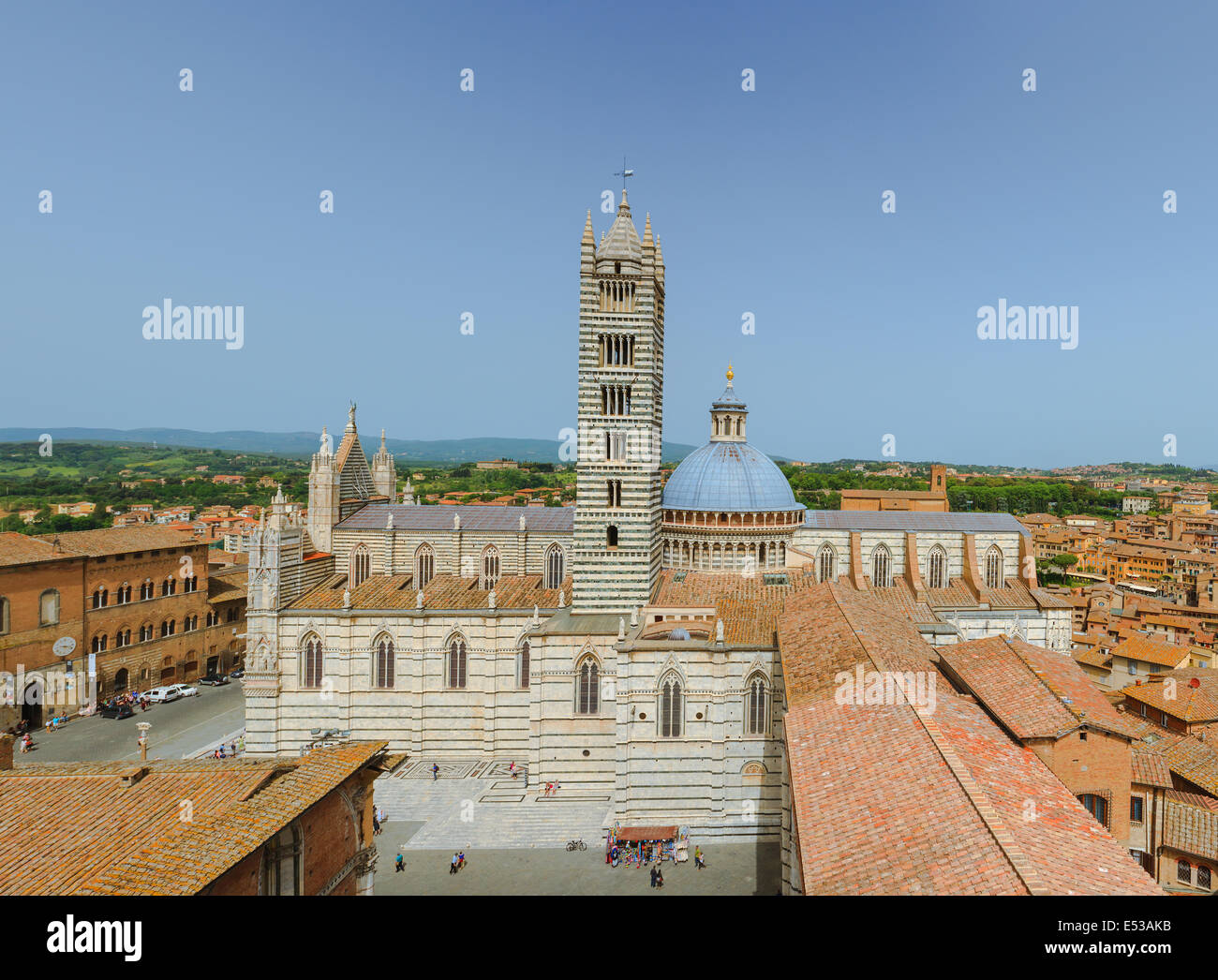 From the top of Il Museo dell'Opera del Duomo. The finest observation point of Siena. A breathtaking panorama with Stock Photo