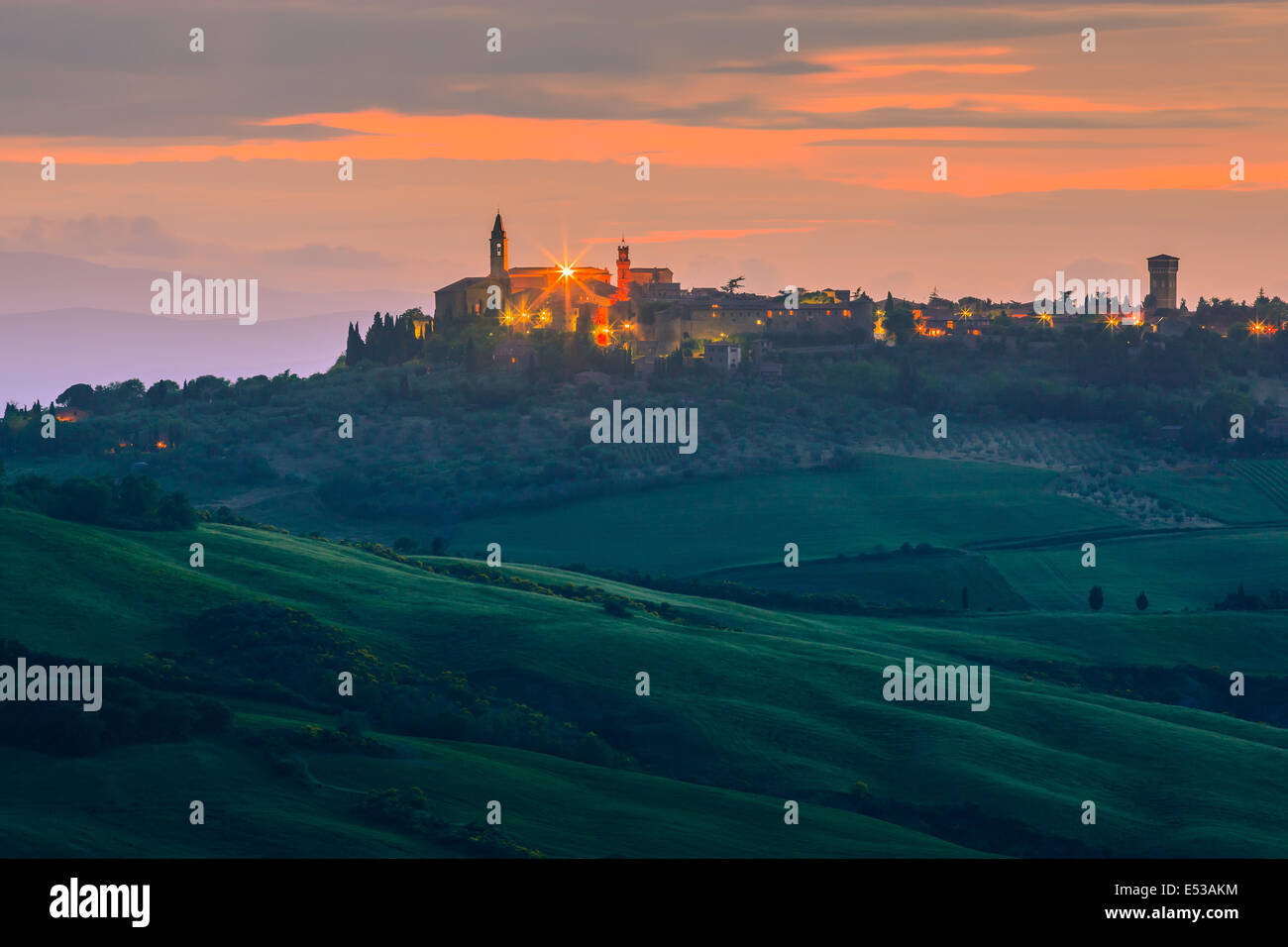 Pienza at sunset, taken from Monticchiello in the heart of the Tuscany, Italy - Stock Image