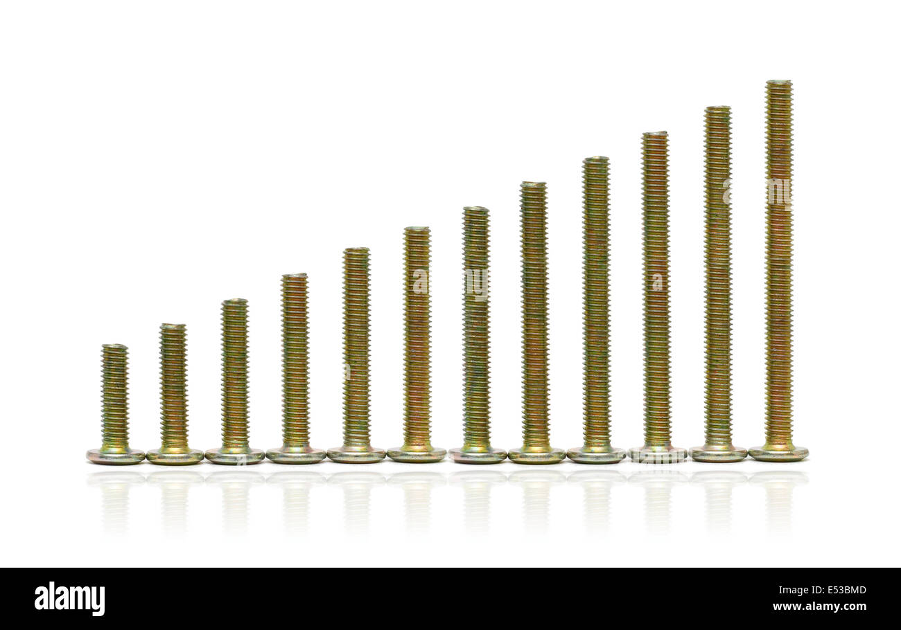 Screws isolated on white background - Stock Image
