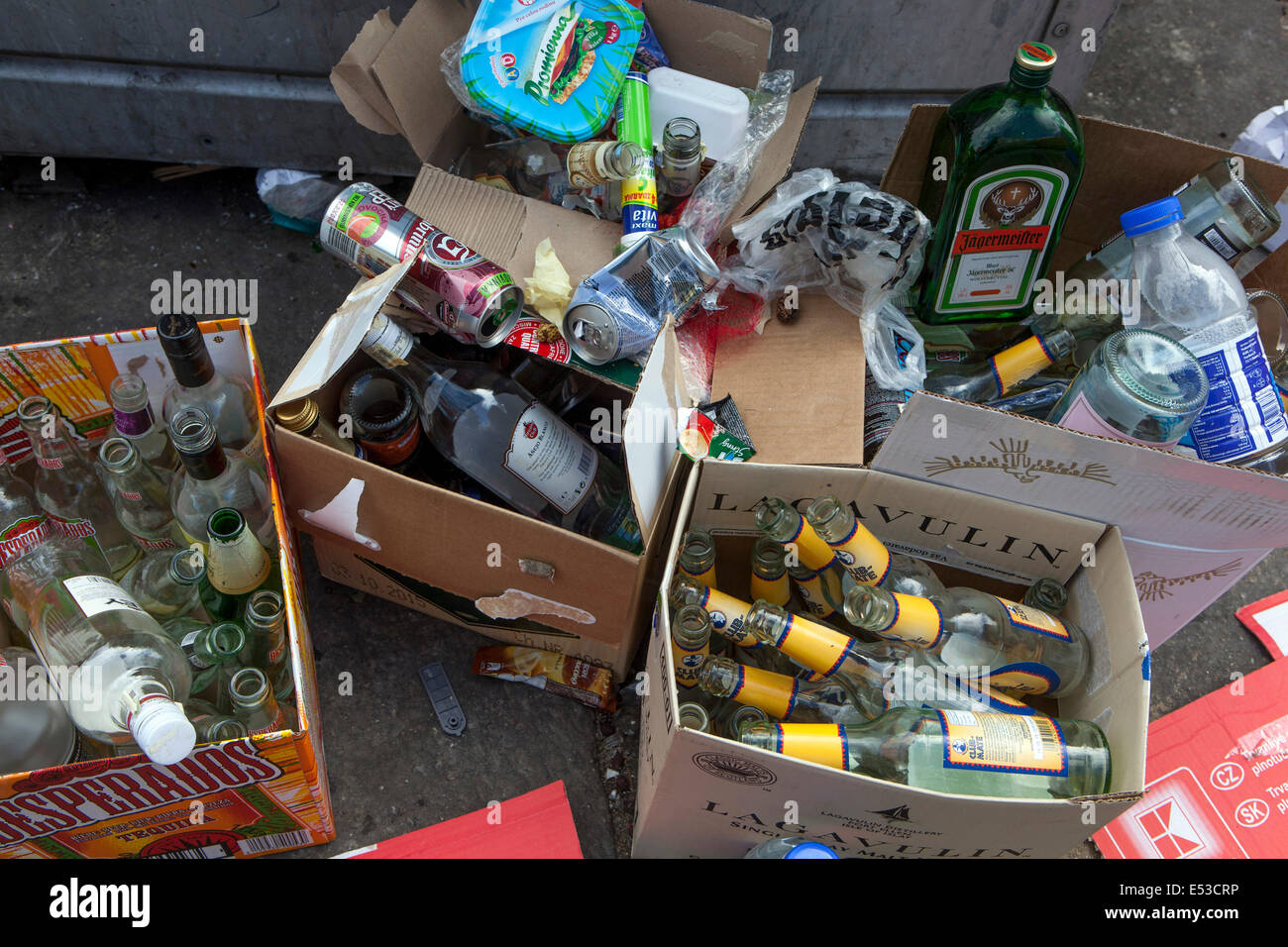 Empty bottles party, alcohol bottles after party, garbage Stock Photo