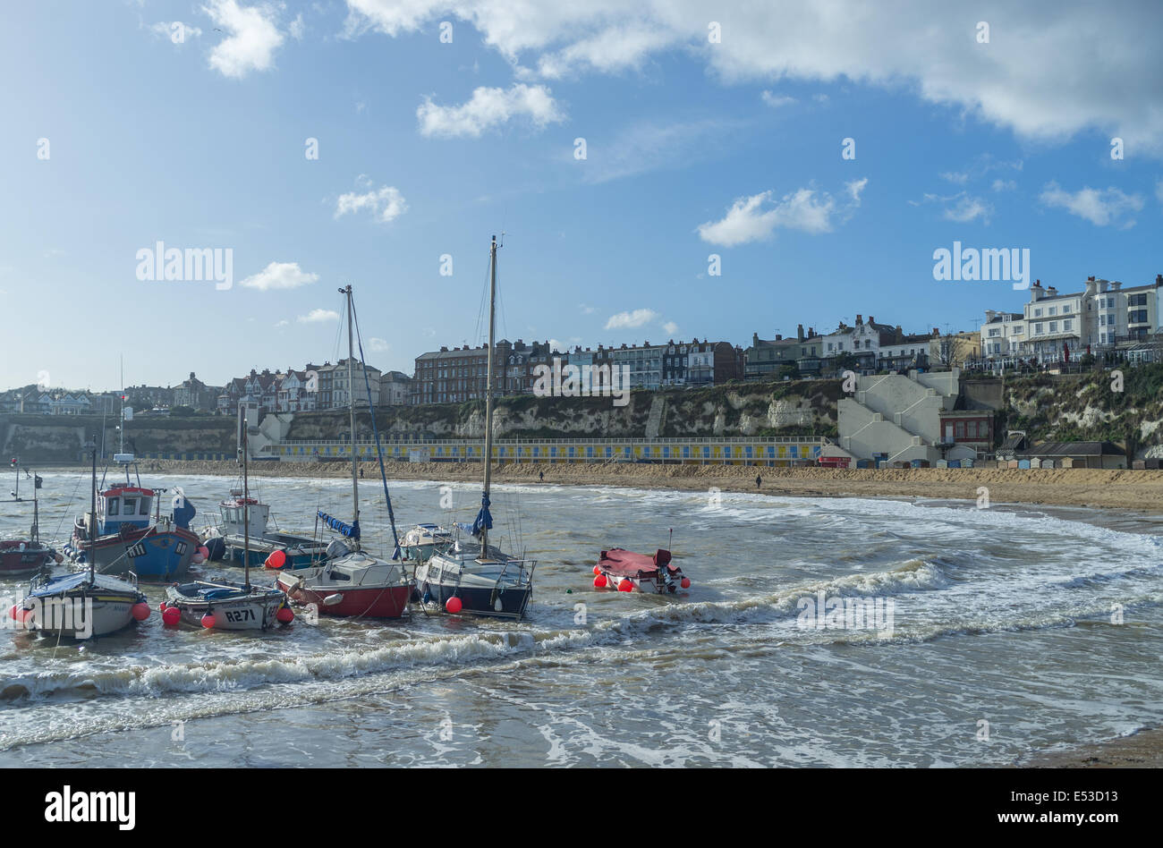 Boats in the harbour at Broadstairs, Kent, United Kingdom - Stock Image