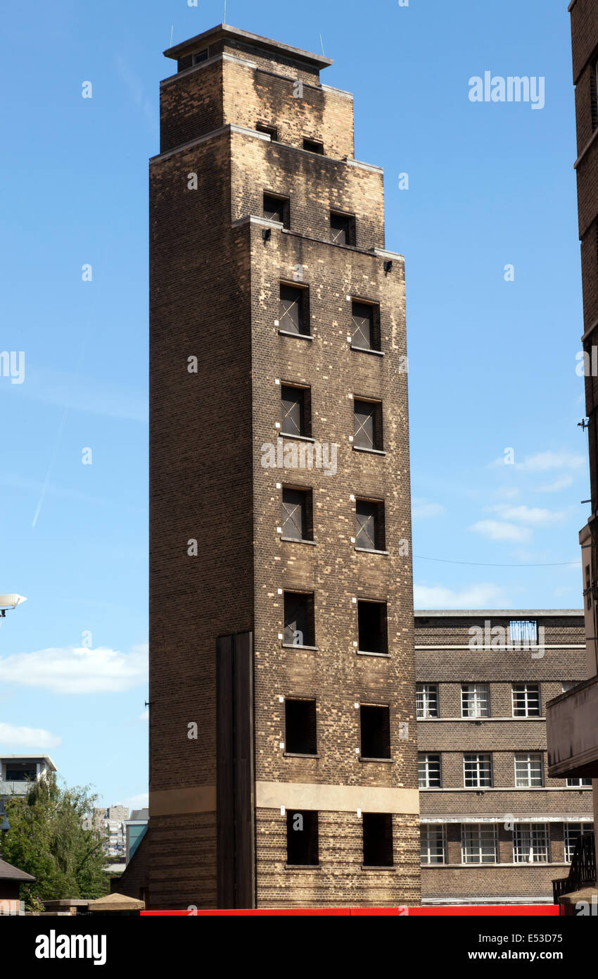 Lambeth, London Fire Brigade Headquarters drill tower Stock Photo