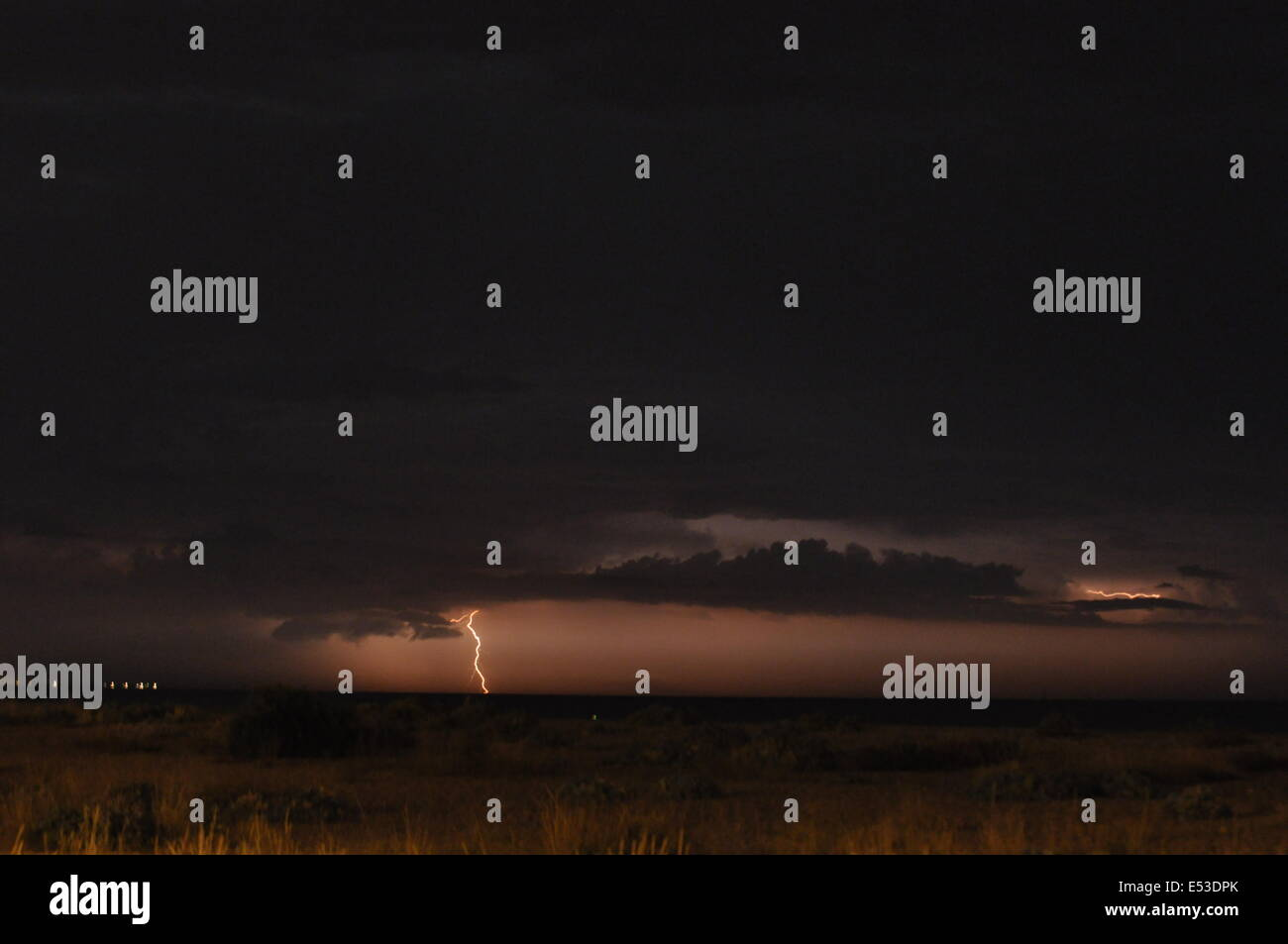 Eastney Bech, Portsmouth, UK. 18th July, 2014. Electric Storm hits the South Coast, early hours of Saturday morning. Stock Photo