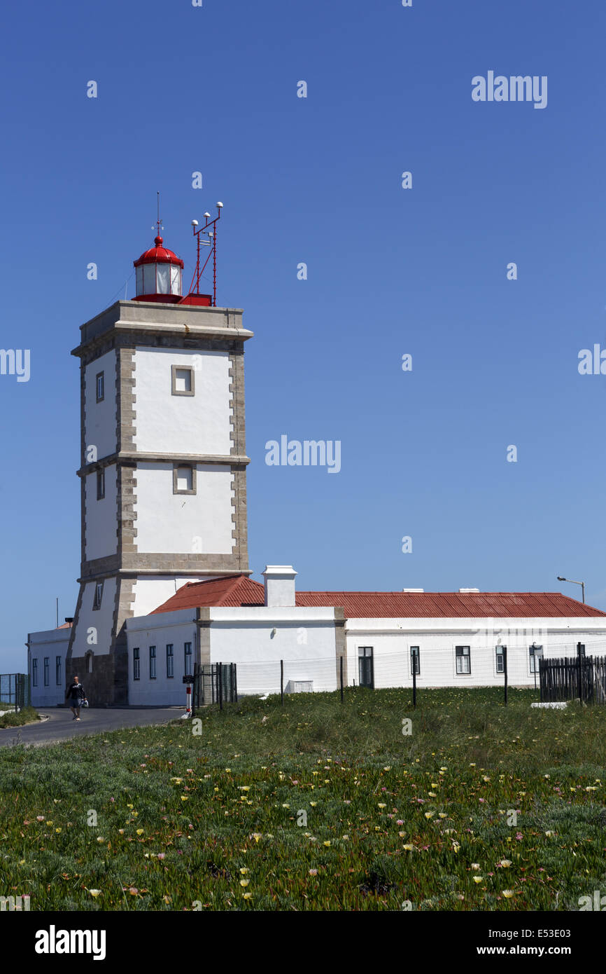 Cape Carvoeiro Lighthouse Peniche.Portugal Part of a group of six lighthouses ordered built by decree of the Marquee Stock Photo
