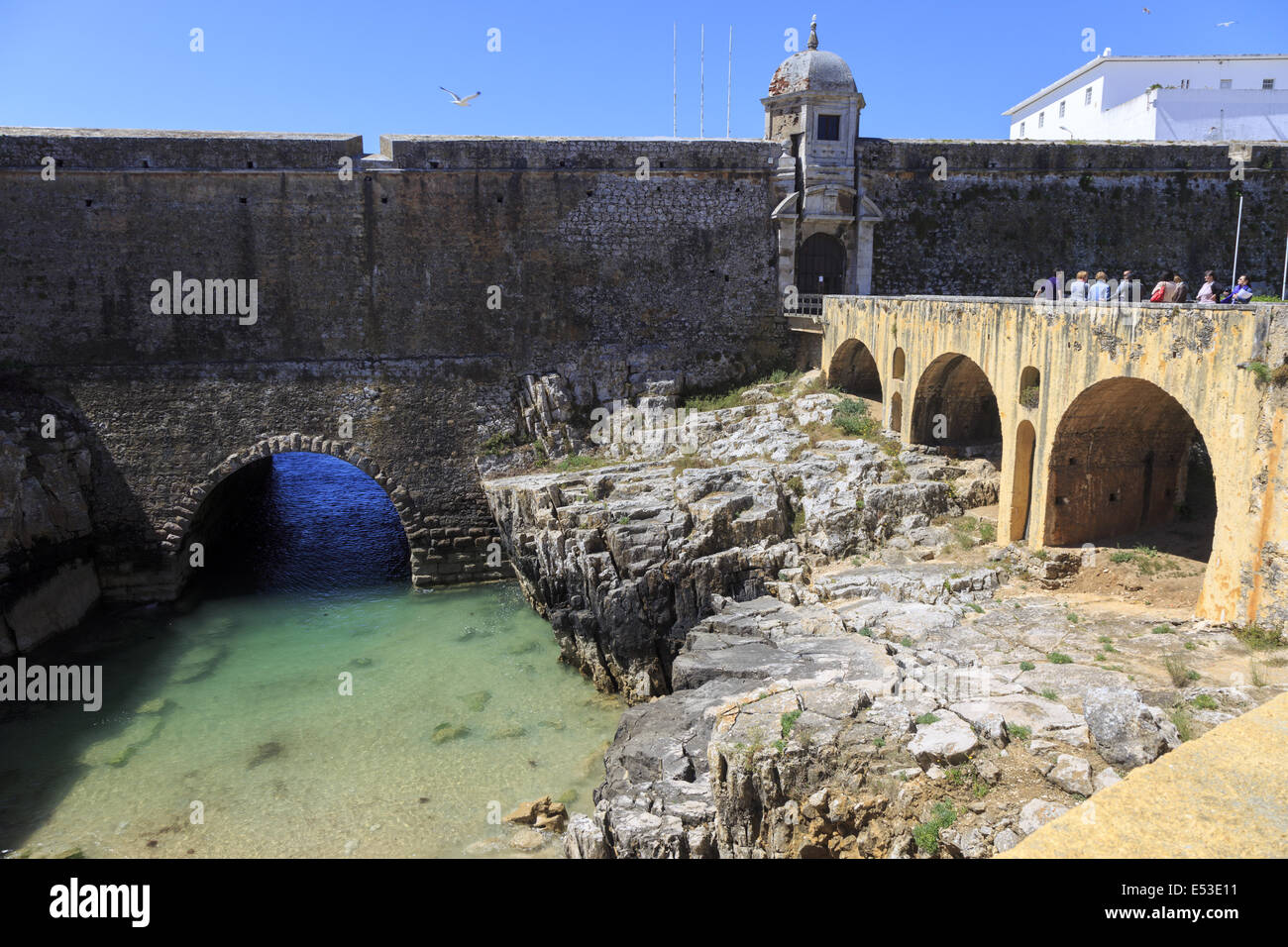 Seventeenth century Peniche Fortress Portugal. A military stronghold from middle ages used in the 19th and 20th - Stock Image