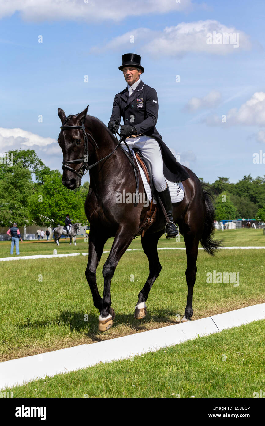 Andrew Nicholson mentally preparing for his dressage event - Houghton International - Stock Image