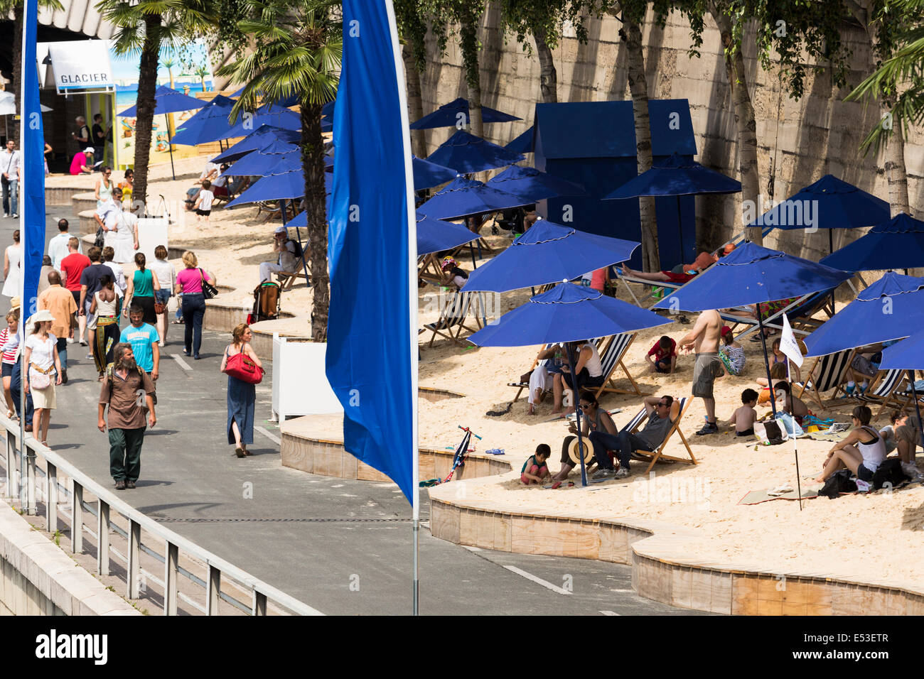Paris, France. 19th July, 2014. Inaugurated in 2002, Paris Plages (Paris Beaches) is a free summer event that transforms - Stock Image