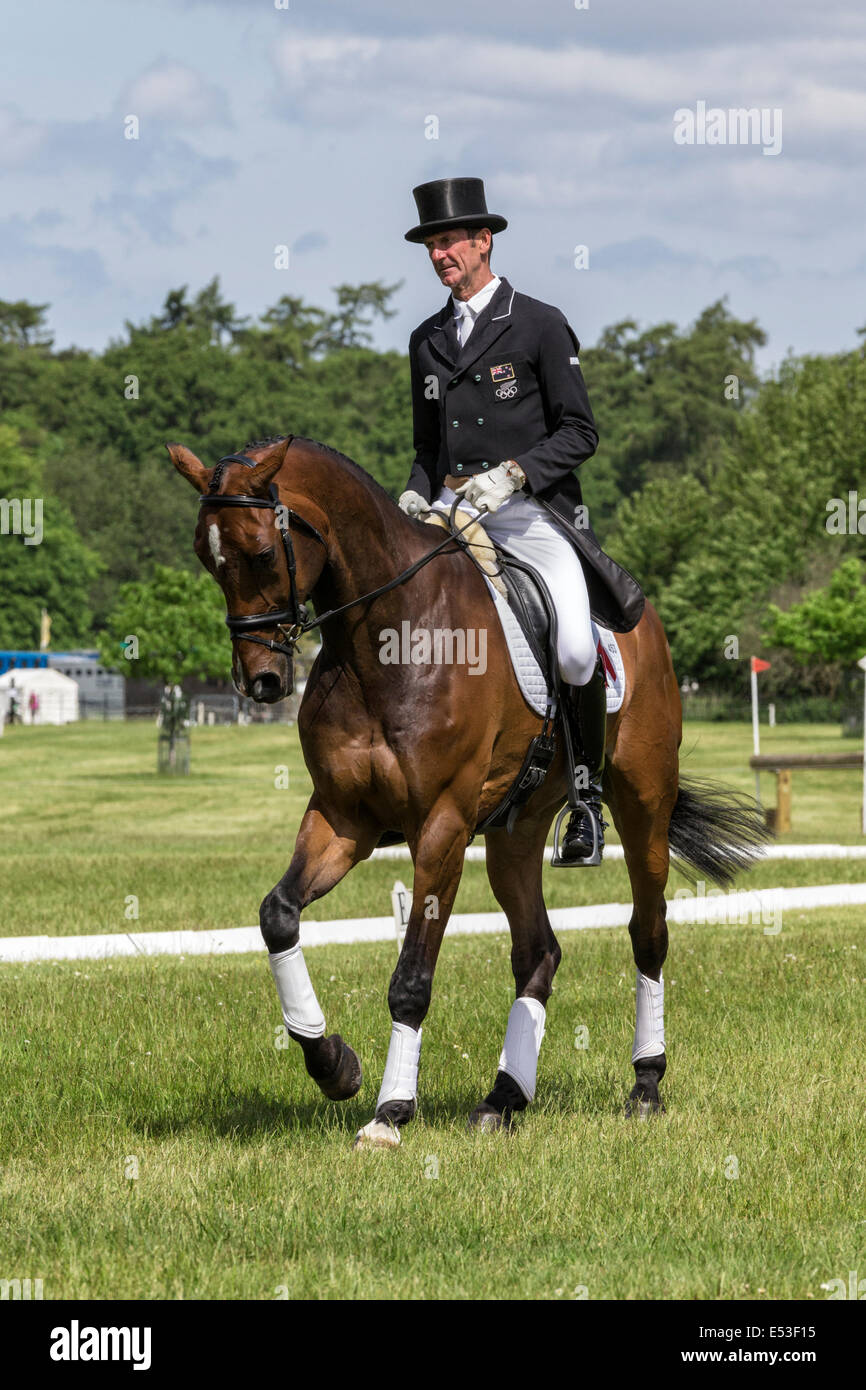 Mark Todd mentally preparing for his dressage event - Houghton International - Stock Image