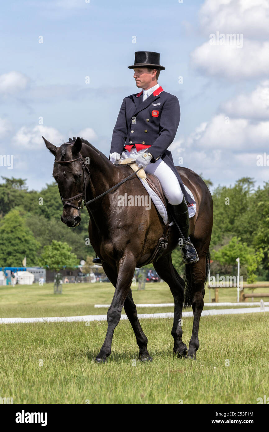 Oliver Townend mentally preparing for his dressage event - Houghton International - Stock Image