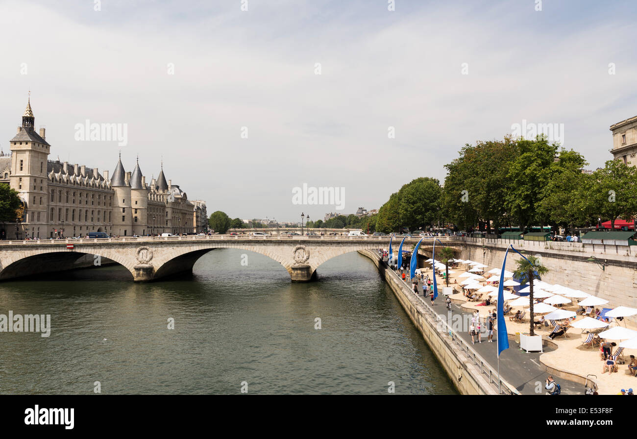 Paris, France. 19th July, 2014. Opening day of Paris Plages on Saturday, 19 July, 2014, Paris, France. Inaugurated - Stock Image