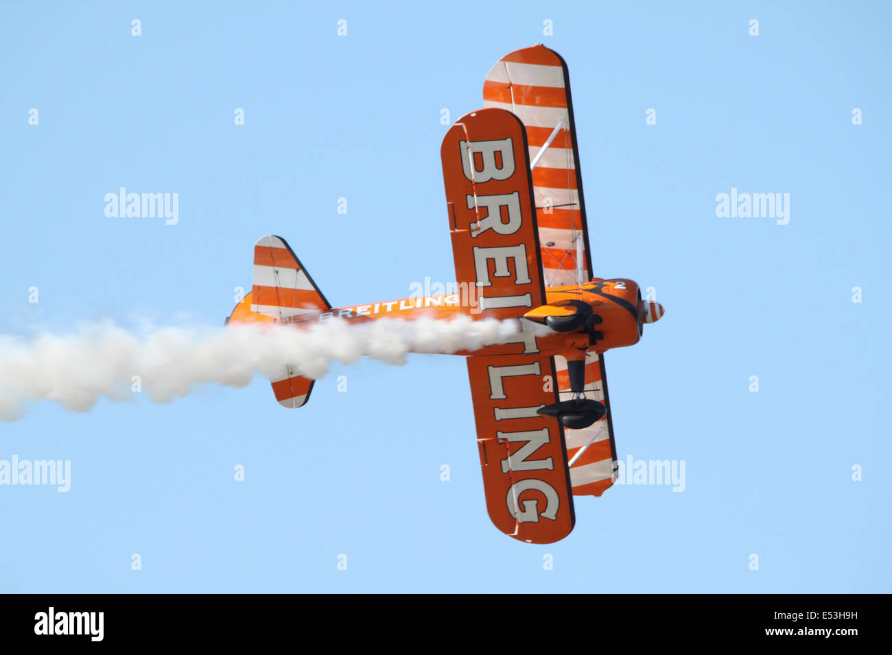 Breightling team plane - part of a display at Rhyl Air show in Wales, UK. - Stock Image