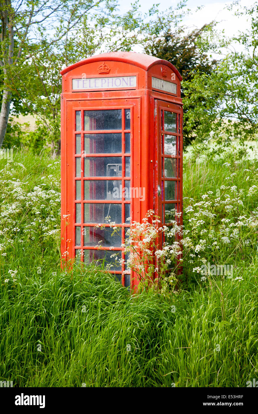 Traditional red telephone box in rural area becoming overgrown through lack of use, Wiltshire, England - Stock Image