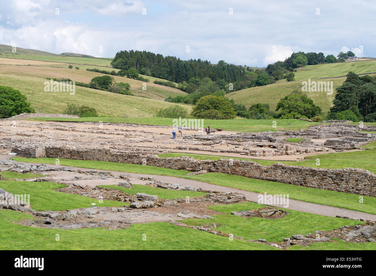 View over the site of  Vindolanda Roman Fort, Northumberland England UK - Stock Image