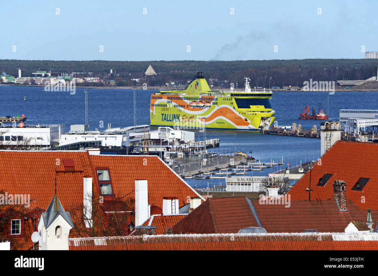 Tallink Shuttle Superstar arriving in Tallinn harbour in Estonia - Stock Image