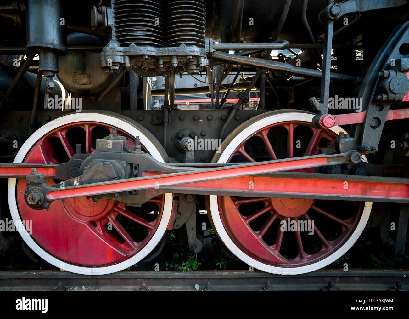 Old steam engine locomotive propulsion mechanism wheels