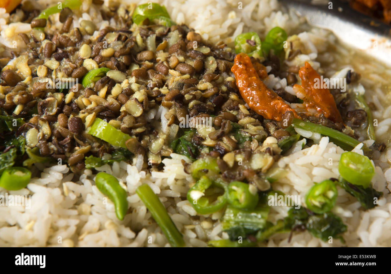 Nepal, Tikedungha, typical Nepali, food, meal of dal bhat on thali plate, rice and lentils with chillies - Stock Image