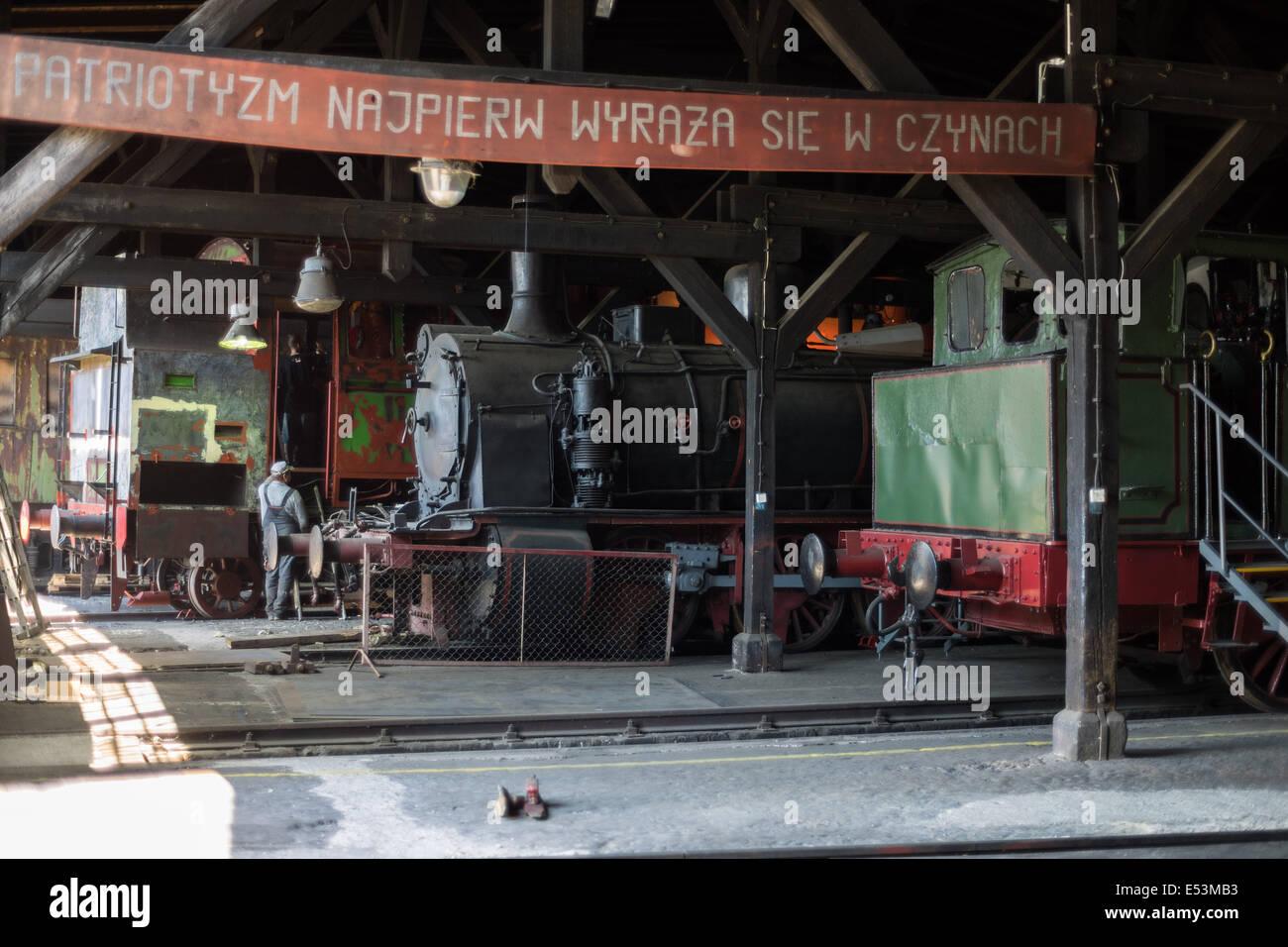 Old steam locomotives Jaworzyna Slaska depot - Stock Image