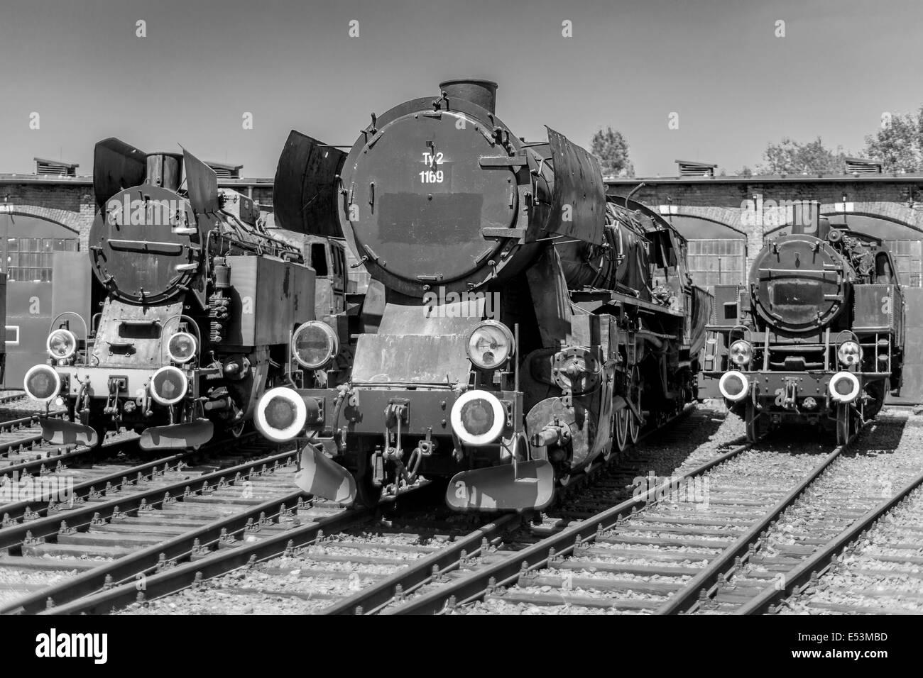 Old steam engine locomotives - Stock Image