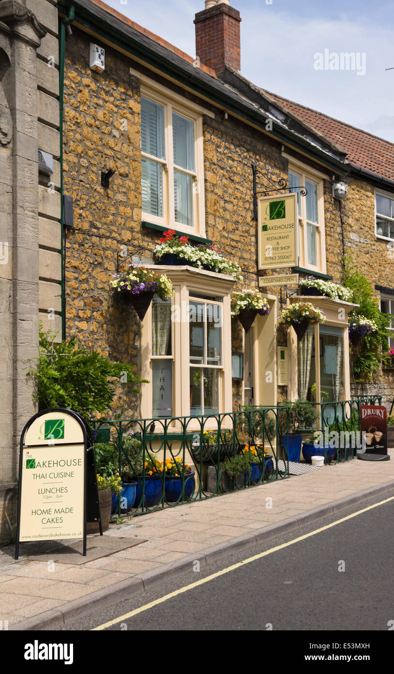 Castle Cary, a small market town in somerset England  UK  The Bakehouse Restaurant and Coffee House - Stock Image