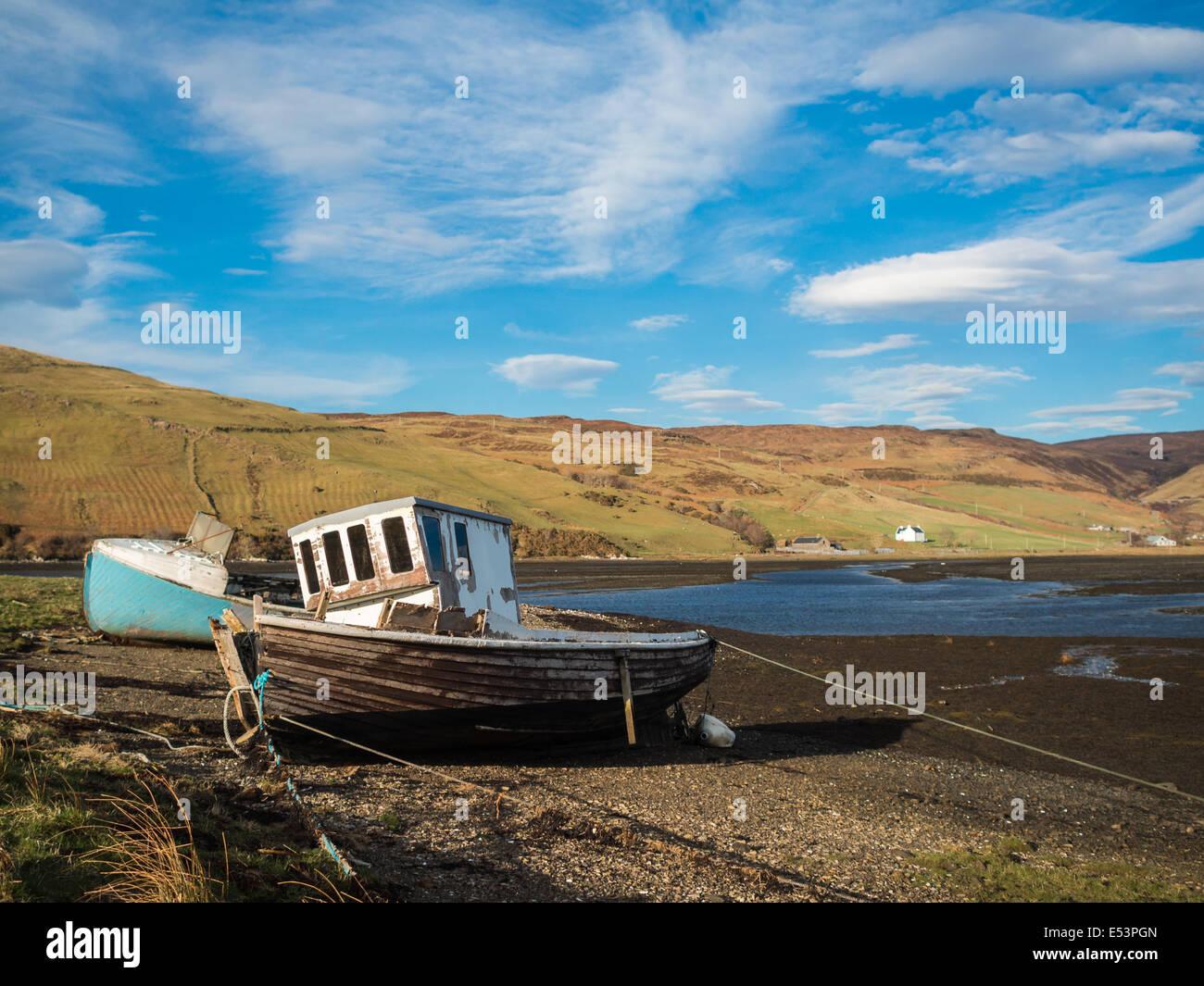 Boat ashore in Loch Harport Stock Photo