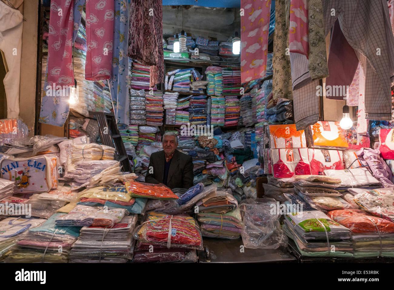 Grand Bazaar area dedicated to cloths, dress. Tehran - Stock Image