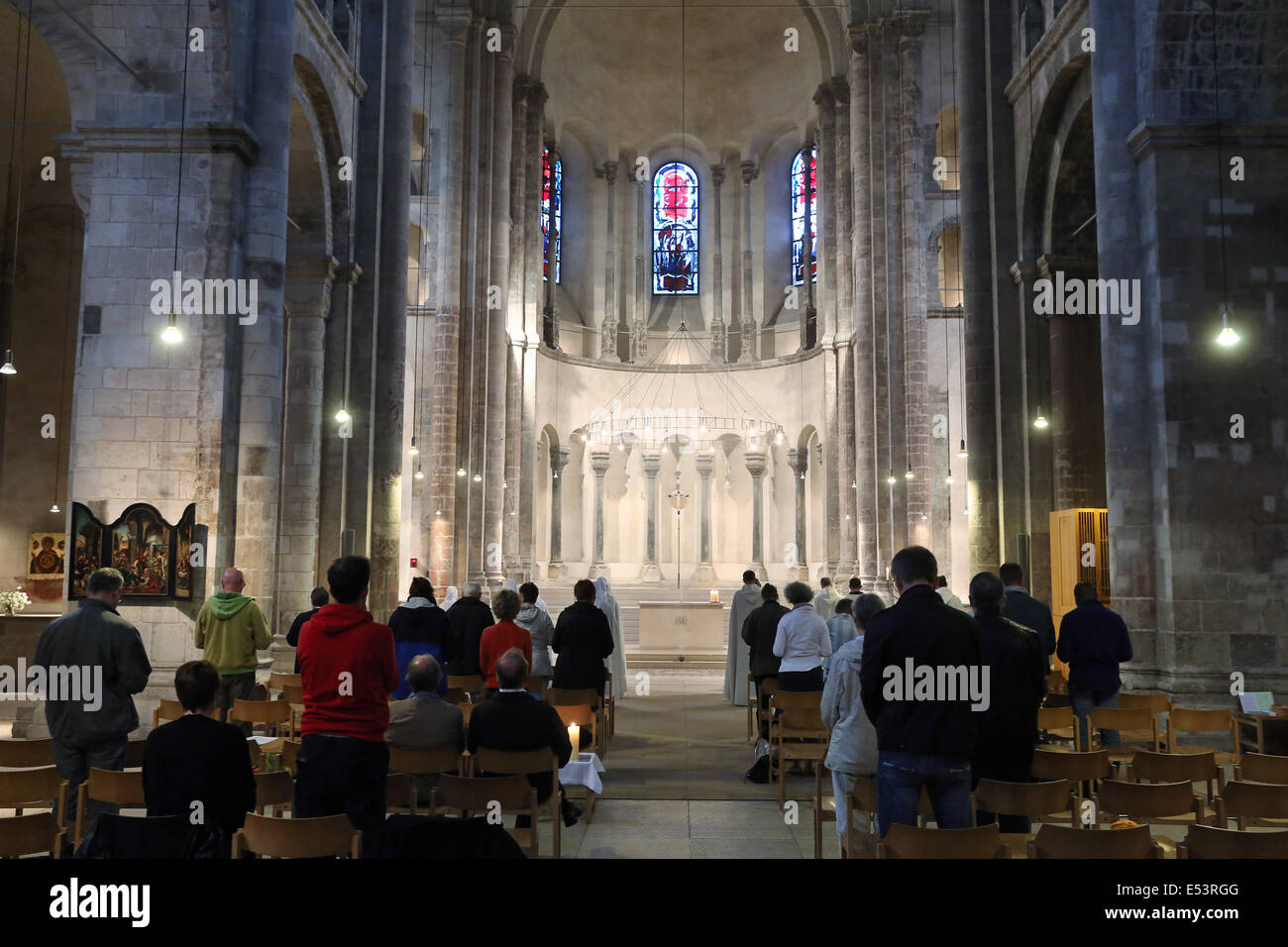 Roman architecture style, Interior of the church of Great Saint Martin in Cologne, Germany - Stock Image