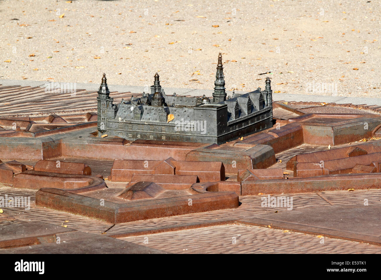 Model of Kronborg castle, embankment and moat in front of the real thing in Elsinore, Helsingør, Denmark - Stock Image