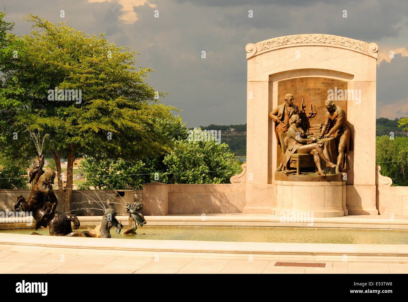 At the Missouri State Capitol in Jefferson City a bronze relief and statuary depicts the Louisiana Purchase - Stock Image
