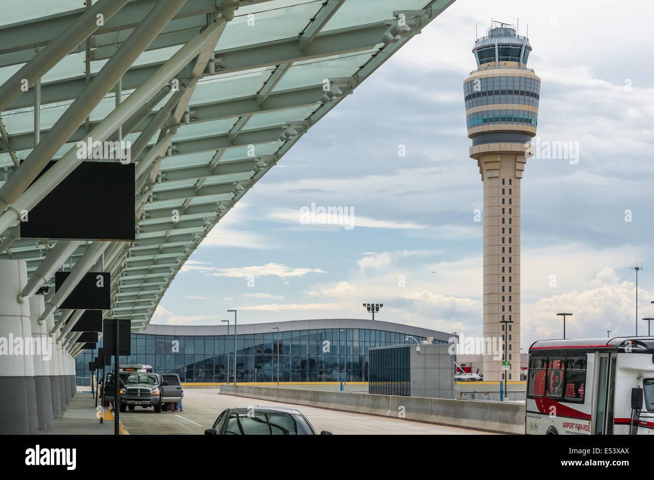 International Terminal and air traffic control tower at Hartsfield-Jackson Atlanta International Airport, Atlanta, - Stock Image