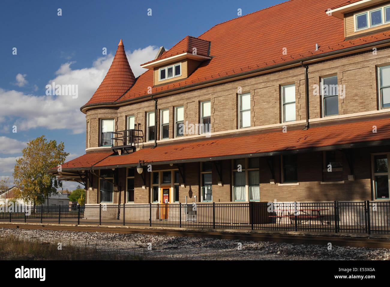 Durand Union Station. Michigan State Railroad History Museum. Historic railroad station at Durand, Michigan, USA. - Stock Image
