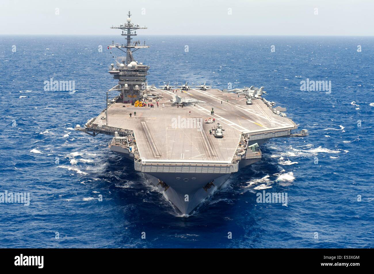 US Navy Nimitz-class aircraft carrier USS Theodore Roosevelt July 16, 2014 in the Atlantic Ocean. Stock Photo