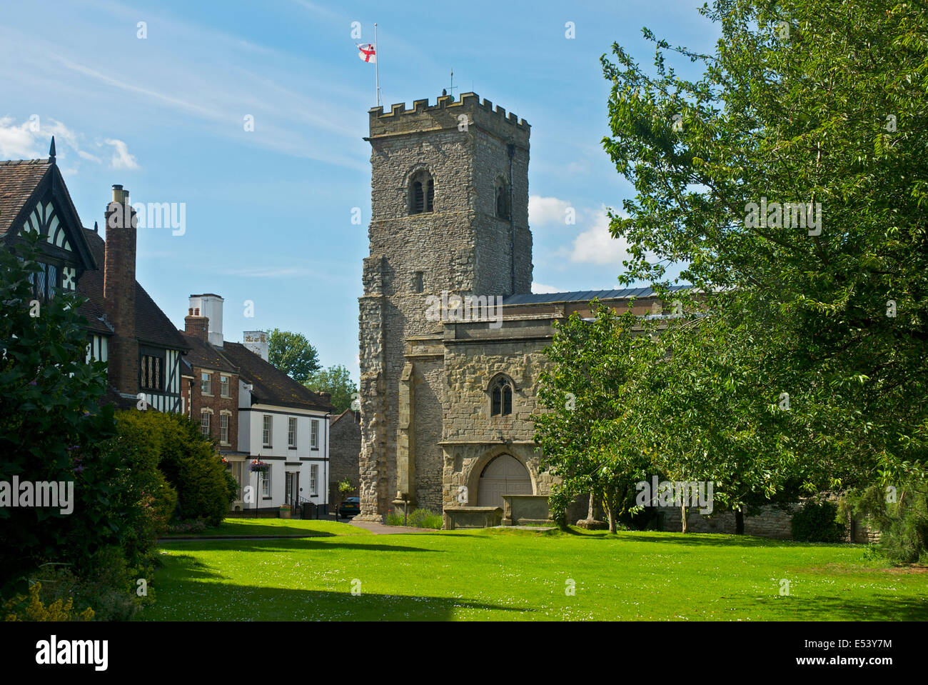 The parish church of the Holy Trinity, Much Wenlock, Shropshire, England UK - Stock Image