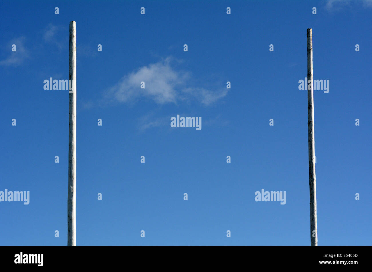 Goal posts for football, rugby union or league on field. Concept photo of sport, achievement mission and goals. - Stock Image