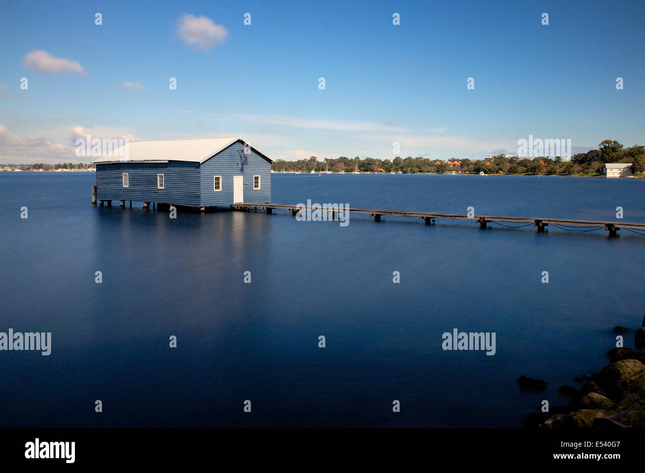 The Crawley Edge Boatshed is a well-recognised and frequently photographed site in Crawley, a suburb of Perth in - Stock Image