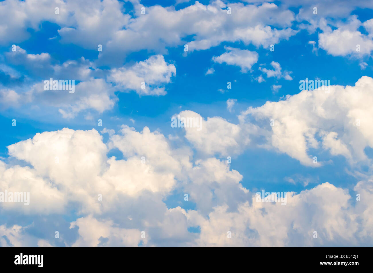 Blue sky background with white clouds, photo taken on July 11th, 2014 in Dalian of China. - Stock Image