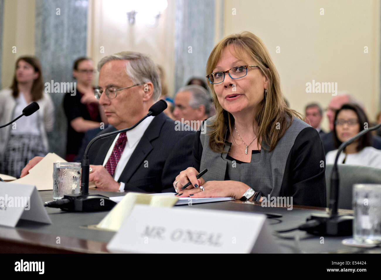 General Motors Chief Executive Mary Barra and the company's general counsel Michael Millikin testify during - Stock Image
