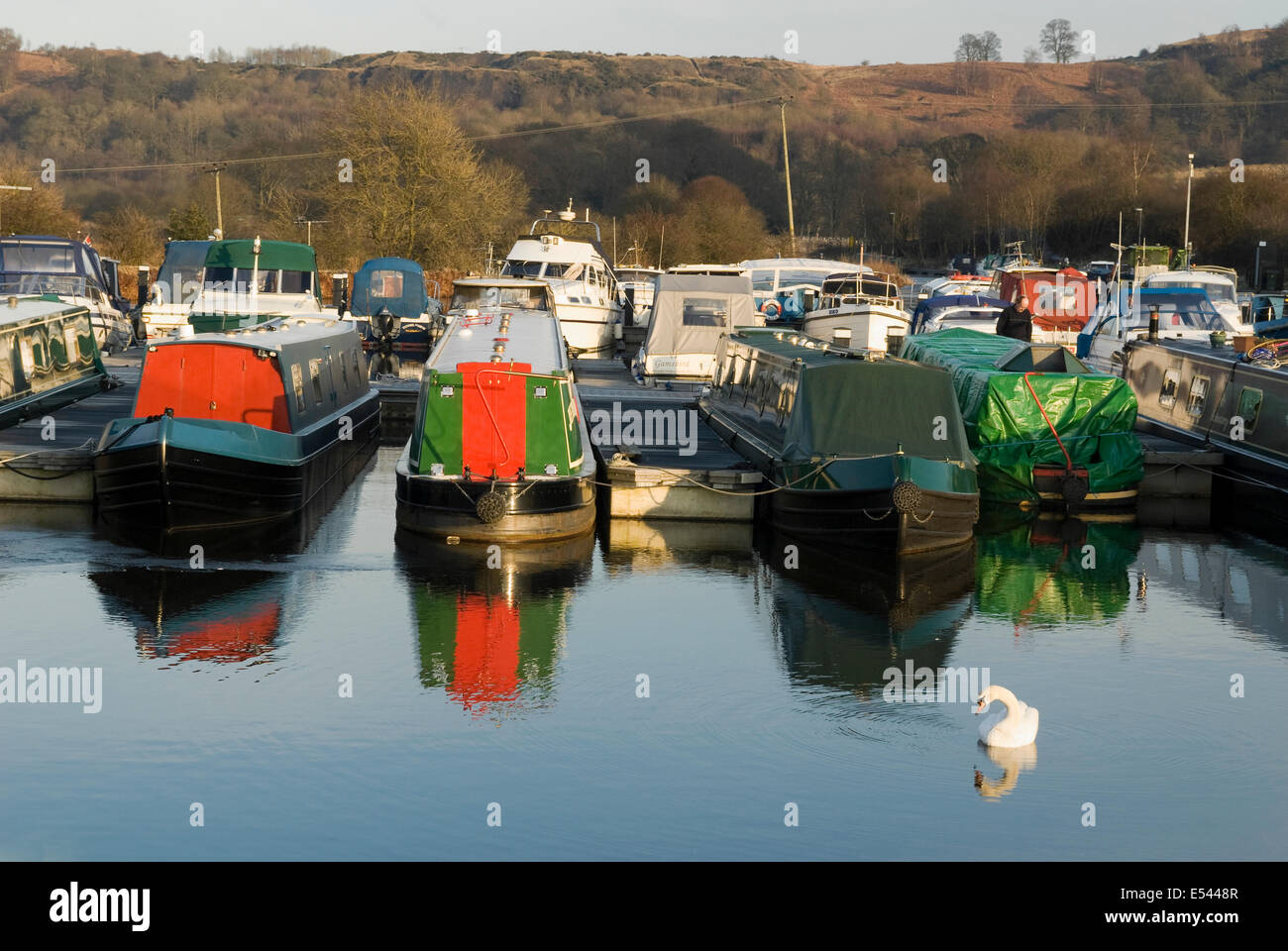 Boats moored at Auchinstarry Marina on the Forth & Clyde Canal. - Stock Image