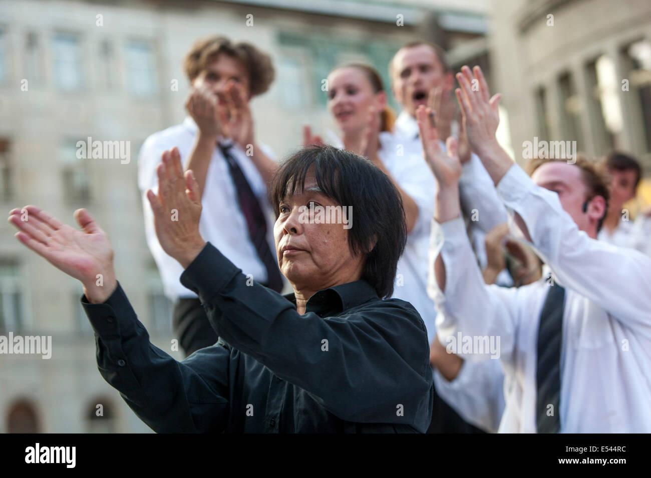 SHUSAKU TAKEUCHI, Japan choreographer, dramaturg. During the performance Package Prague Stock Photo