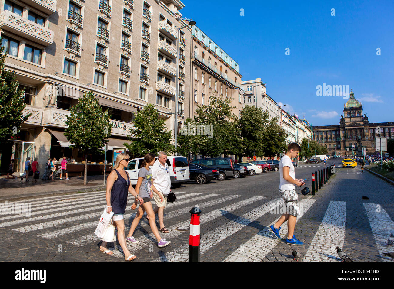 Tourists on crosswalk, Hotel Jalta on Wenceslas Square Prague Czech - Stock Image