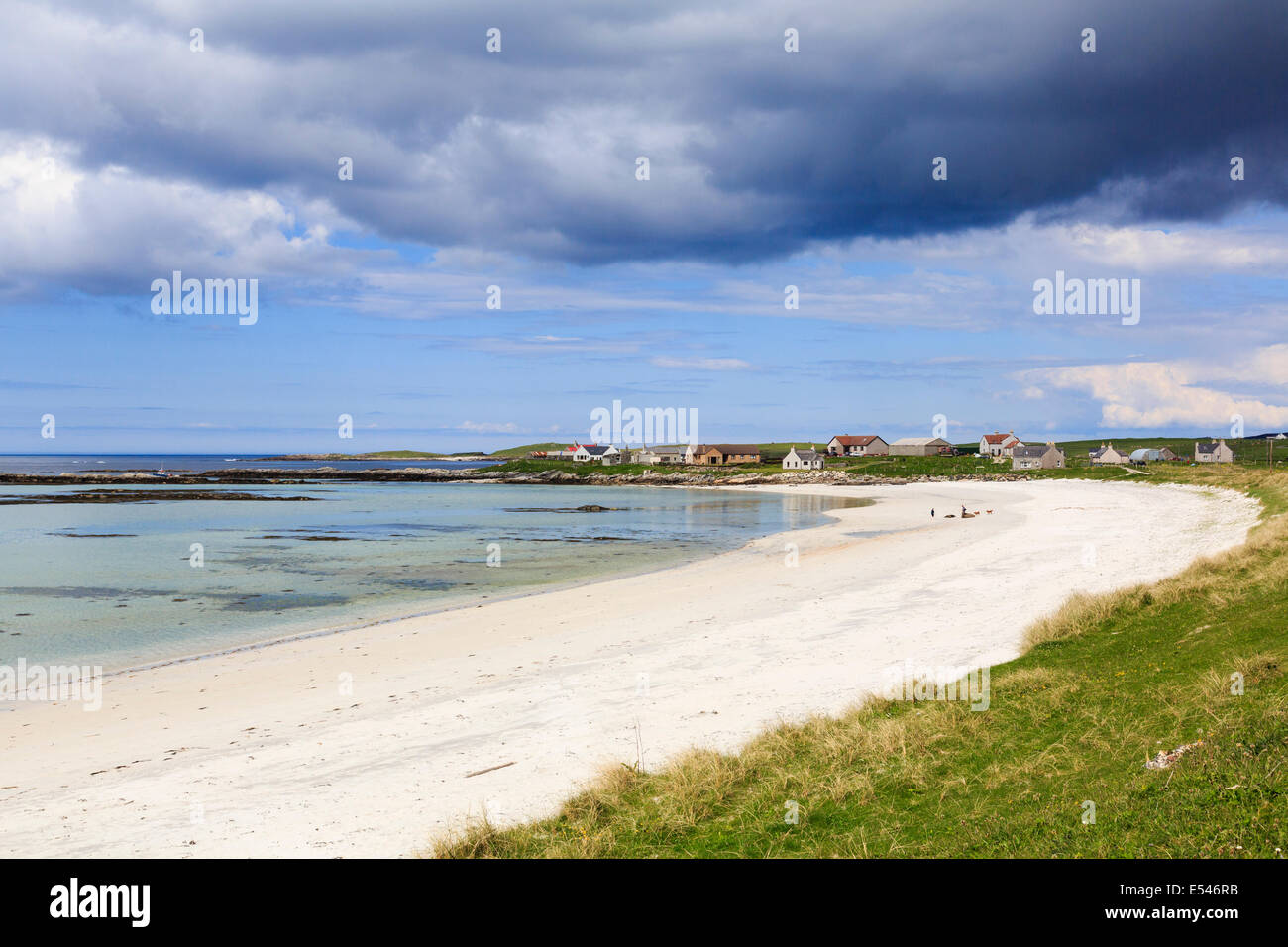 White sands of Traigh nam Faoghailean beach at Balranald RSPB Nature Reserve North Uist Outer Hebrides Western Isles - Stock Image